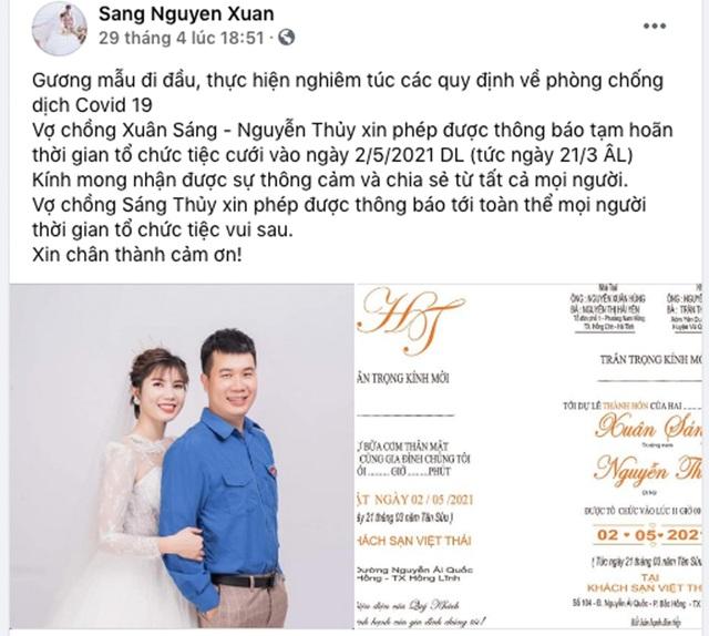 Bí thư Đoàn ở Hà Tĩnh hoãn đám cưới để phòng chống dịch Covid-19 - 2