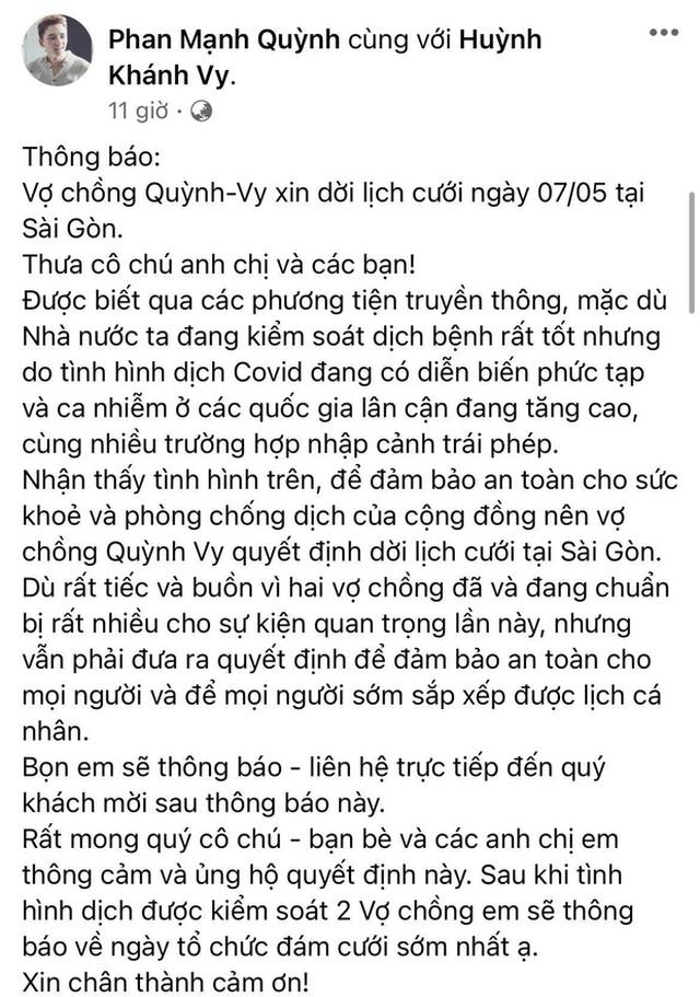 Phan Mạnh Quỳnh và vợ hot girl hoãn lễ cưới ở TP.HCM vì dịch bệnh
