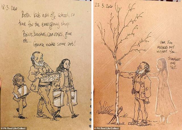 Xúc động tập Nhật ký vẽ nguệch ngoạc về người vợ đã mất của họa sĩ già - 5