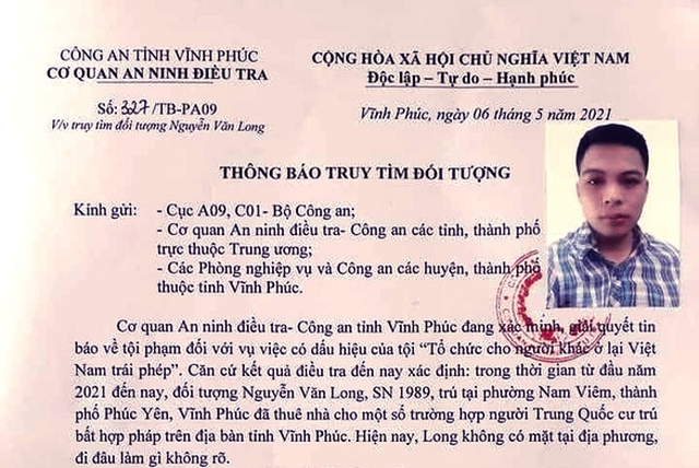 Truy tìm đối tượng thuê nhà cho nhóm người Trung Quốc cư trú bất hợp pháp - 1
