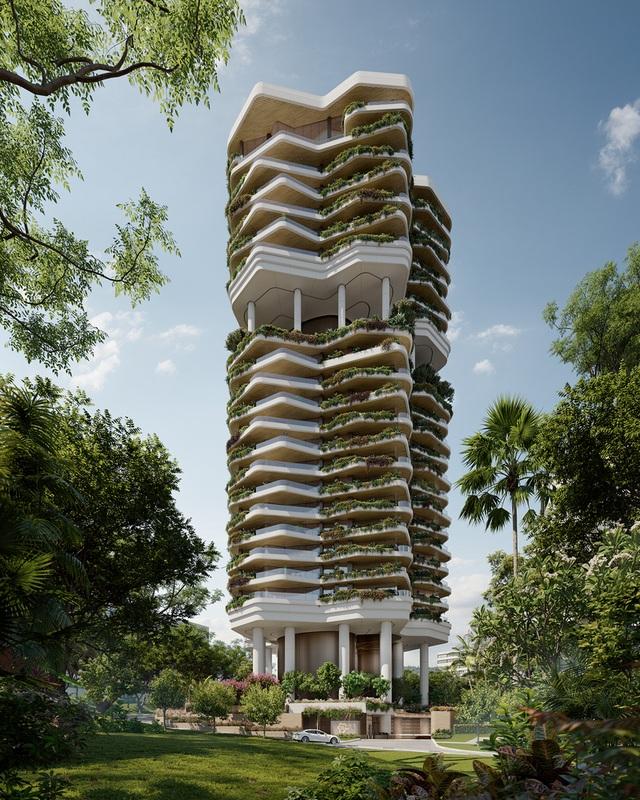 Khu vườn thẳng đứng bên trong tòa tháp ruộng bậc thang ở Singapore - 4