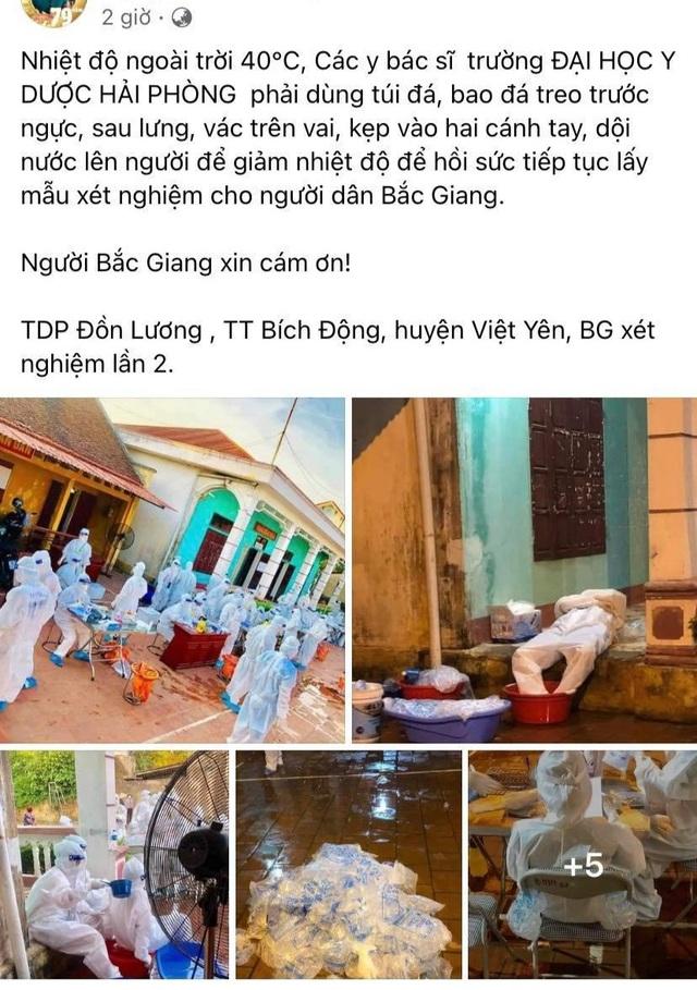 Thương cảm hình ảnh y bác sĩ dội nước đá lên người làm mát tại Bắc Giang  - 1