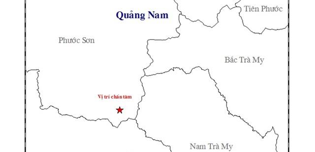 Vị trí xảy ra động đất trên địa bàn huyện Phước Sơn. (Ảnh: Viện Vật lý địa cầu)