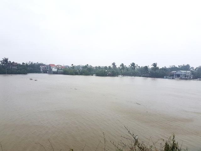Nước lũ ngập trắng đồng ở thị xã Điện Bàn trưa ngày 16/12