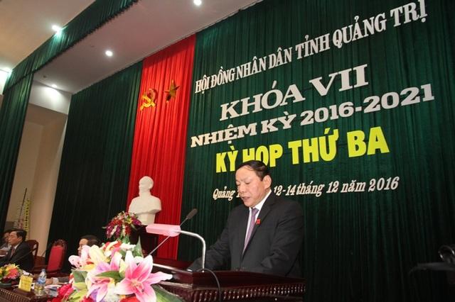 Ông Nguyễn Văn Hùng, Bí thư Tỉnh ủy, Chủ tịch HĐND tỉnh Quảng Trị phát biểu khai mạc kỳ họp