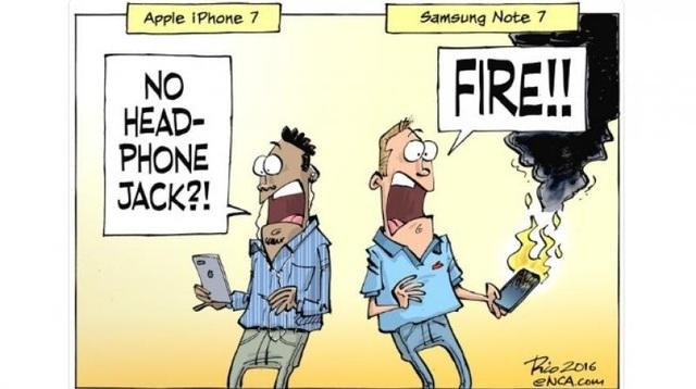 Người dùng iPhone 7 thì lo ngại vì không có jack cắm tai nghe. Còn người dùng Note7 chỉ lo cháy