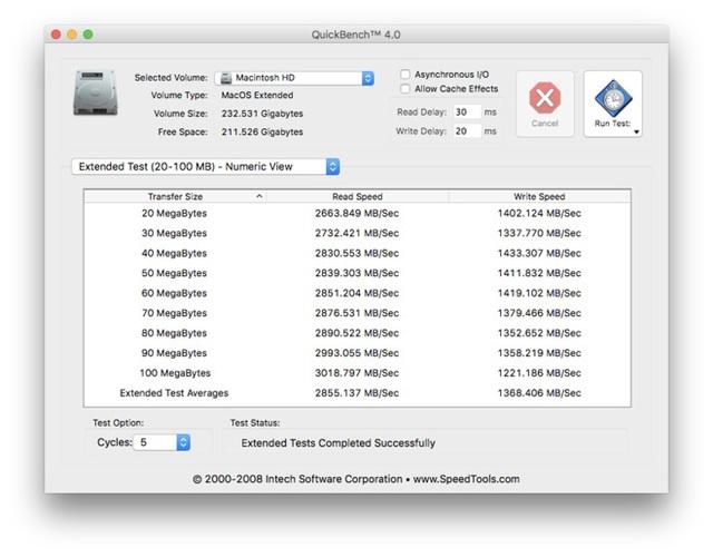 Điểm benchmark ghi nhận tốc độ vượt trội của ổ cứng SSD trên MacBook Pro 2016