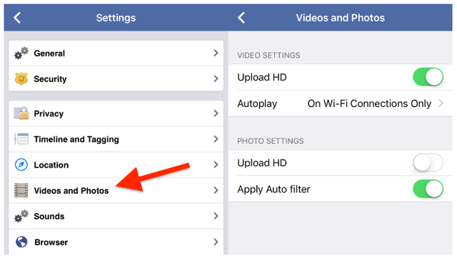 Nếu như không muốn tự chạy các đoạn video khi lướt Facebook, bạn hoàn toàn có thể tắt tính năng này đi. Để thực hiện điều này, bấm vào mục Cài đặt ở mũi tên góc trên bên phải màn hình Facebook. Sau đó, nhấn vào tab Video. Tại đây, chúng ta có thể thay đổi các tùy chọn khi phát video như như Chất lượng video, Video tự phát,...
