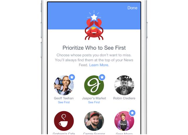 Nếu như theo dõi quá nhiều trang thông tin (Pages) trên Facebook, bạn có thể thiết lập quyền ưu tiên dành cho một vài trang nhất định, để Facebook thực hiện sắp xếp nội dung cho chúng xuất hiện nhiều hơn, và lên trước nhất. Để thực hiện điều này, vào Cài Đặt > Tùy chọn bảng tin (hiện chỉ có trên giao diện Facebook Mobile). Sau đó sắp xếp các trang, nội dung trong mục Ưu tiên xem trước.