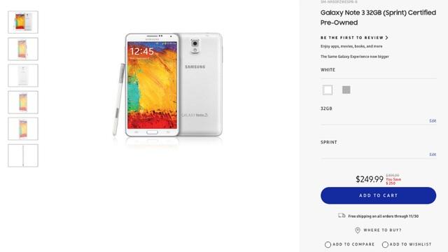 Đáng bất ngờ khi đây có lẽ là deal tồi tệ nhất trong lịch sử; theo nhận định của BGR. Vào thời điểm đã trải qua 3 phiên bản của dòng Galaxy Note bao gồm Note 4, Note 5 và Note7; thì Samsung lại cho đăng tải deal khuyến mãi giảm giá dành cho một chiếc Note 3 hàng đã tân trang với giá 249 USD và đi kèm hợp đồng với nhà mạng Sprint trong dịp Black Friday lần này.