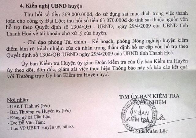 Kiến nghị của Ủy ban kiểm tra Huyện ủy Hậu Lộc về những sai phạm của ông Đỗ Văn Tám
