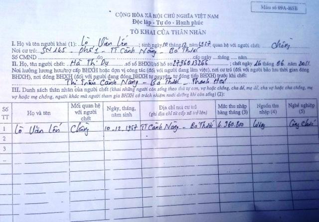Ông Lò Văn Lến khai man hồ sơ để hưởng chế độ tuất hàng tháng sau khi vợ mất