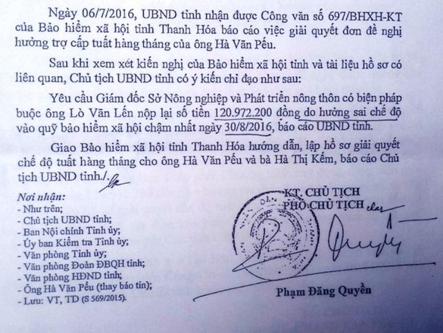 UBND tỉnh Thanh Hóa nhiều lần ban hành công văn yêu cầu ông Lến nộp lại số tiền hưởng sai chế độ
