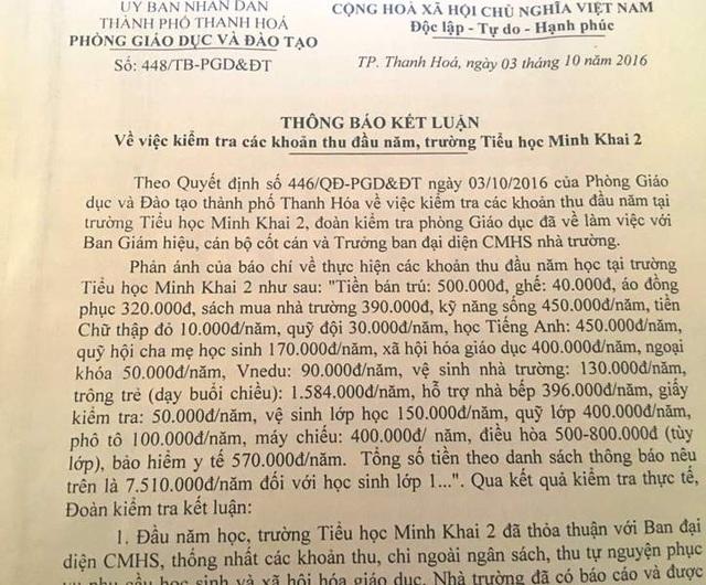 Phòng GD-ĐT thành phố Thanh Hóa mới chỉ làm rõ các khoản thu tại một lớp.