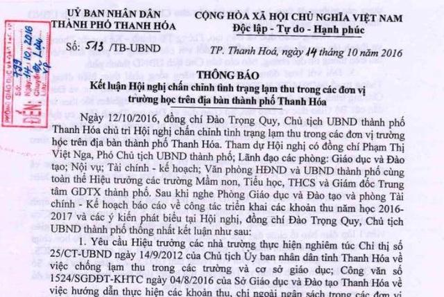 Thông báo số 513 của Chủ tịch UBND thành phố Thanh Hóa về chấn chỉnh tình trạng lạm thu trên địa bàn