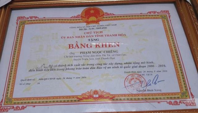 Ông đã được Chủ tịch UBND tỉnh Thanh Hóa tặng Bằng khen