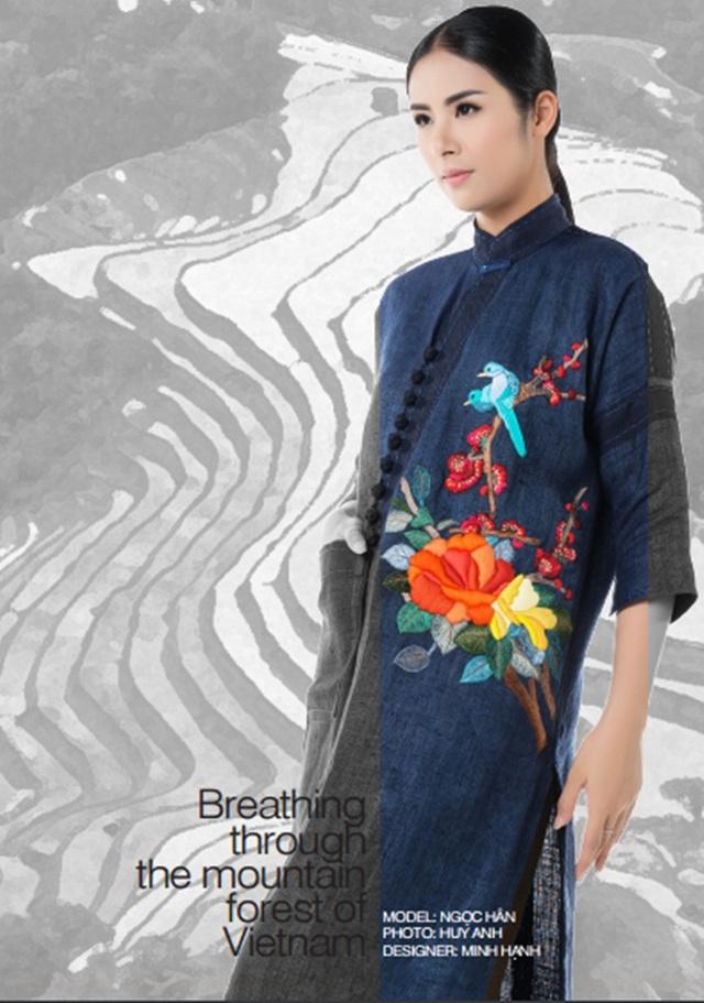 Hoa hậu Ngọc Hân trong một thiết kế của Bộ sưu tập Hơi thở từ núi rừng Việt Nam.