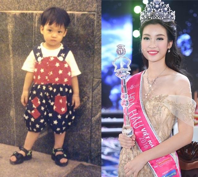 Nhìn ảnh cậu bé tóc tém có lẽ ít người đoán ra đây là ảnh thưở bé của Hoa hậu Việt Nam 2016 Đỗ Mỹ Linh. Giờ đây, cô đã sở hữu nhan sắc đầy nữ tính, khác xa thuở thơ bé.