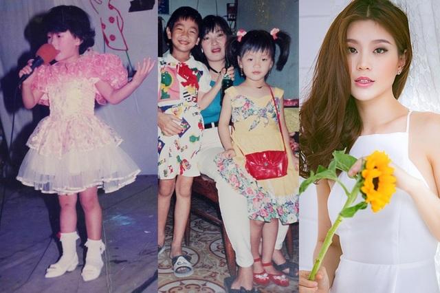 Gương mặt Á hậu Việt Nam 2014 không có khác biệt mấy so với hồi nhỏ. Cô cũng là nhan sắc ít ỏi trong số các người đẹp không có sự thay đổi về đường nét gương mặt tính từ sau đăng quang. Trong những bức ảnh, dễ nhận thấy, Á hậu điệu đà từ tấm bé.