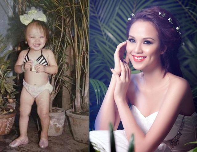 Hình ảnh tuổi thơ của Hoa hậu Diễm Hương tinh nghịch, đáng yêu với nụ cười tươi, má lúm đồng tiền đặc trưng trong bộ đồ bơi khiến nhiều người thích thú.