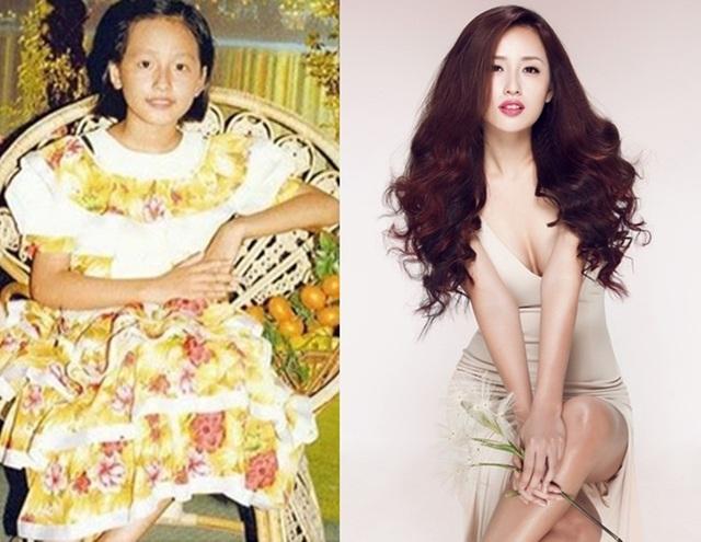 Hoa hậu Mai Phương Thúy cao và thanh mảnh từ thời tấm bé.
