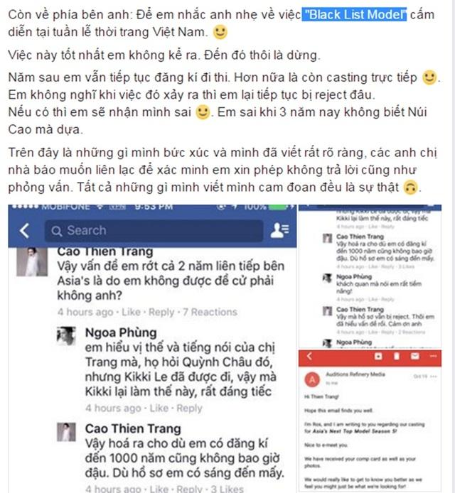 Cao Thiên Trang lên tiếng tố cáo có black list model tại Tuần lễ thời trang quốc tế Việt Nam chèn ép khiến nhiều chân dài không thể tham dự dù được nhà thiết kế mời trình diễn.