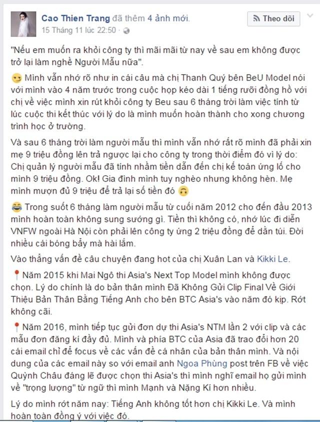 Cao Thiên Trang cũng nhắc đến việc bị đối xử bạc bẽo khi quyết định rời khỏi BeU Model.