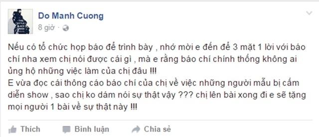 Đỗ Mạnh Cường tiếp tục phản ứng với bản thông cáo của phía BeU và Vietnam's Next Top Model .