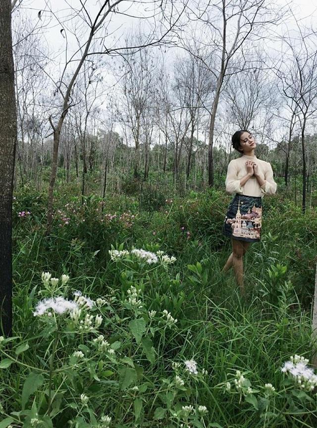 Đặc biệt, hình ảnh cô ngẫu hứng chụp giữa khung cảnh là một khu rừng đã nhận được rất nhiều lời khen ngợi của fan hâm mộ trên Facebook cá nhân.