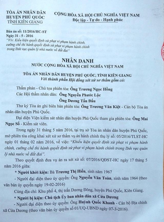 Không đồng ý với bản án sơ thẩm, Chủ tịch xã Cửa Dương kháng cao, tuy nhiên tại phiên tòa phúc thẩm ngày 27/9, HĐXX đã bác toàn bộ kháng cáo của Chủ tịch xã Cửa Dương.