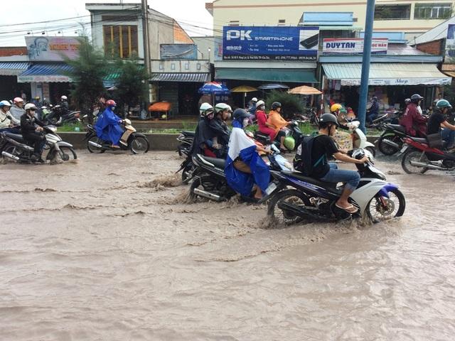 Người dân vất vả bơi trên nước bẩn đến công sở