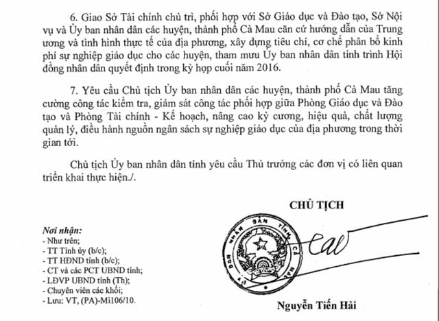 Chủ tịch tỉnh Cà Mau Nguyễn Tiến Hải chỉ đạo cân đối hoặc tạm ứng trước ngân sách, đảm bảo thanh toán dứt điểm các khoản nợ đối với giáo viên trước ngày 20/11.