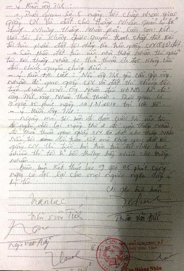 Tại buồi hòa giải 13/3/2014, trước đại diện chính quyền ấp, xã Thạnh Lộc, ông Tích hứa bằng văn bản là sau khi khai thác tràm, 05 ngày sau ông sẽ giao giấy CNQSDĐ và toàn bộ diện tích đất mà ông đang chiếm giữ cho ông Nhân nhưng đến nay ông không thực hiện
