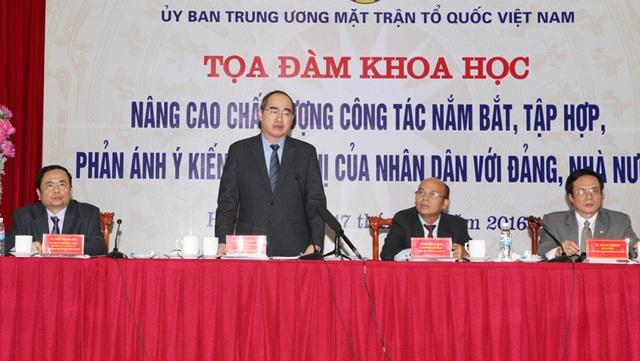 Chủ tịch UB TƯ MTTQ Việt Nam Nguyễn Thiện Nhân: Nếu đứng ngoài cuộc sống, chúng ta sẽ không dám nói sâu về những tâm tư, nguyện vọng, ý kiên và kiến nghị của người dân.