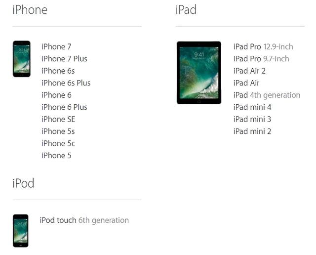 Danh sách các thiết bị sẽ được cập nhật iOS 10