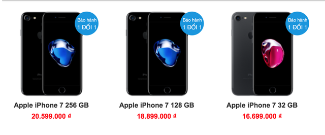 Giá iPhone 7 đang giảm mạnh