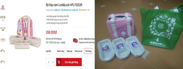 Hàng đặt online và hàng thực tế (bên phải)
