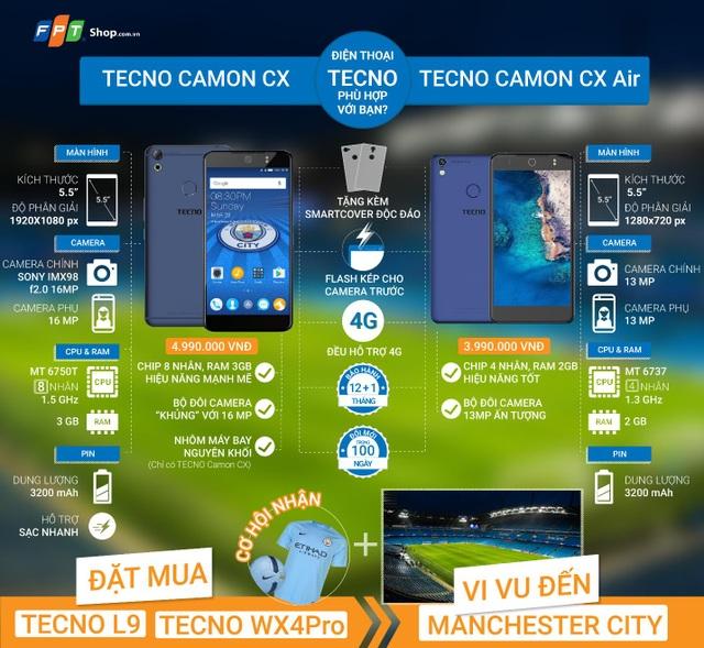 Chọn mua Camon CX và Camon CX Air tại FPT Shop, bạn sẽ nhận ngay phiếu mua hàng trị giá 200.000 đồng hoặc được mua trả góp 0% lãi suất và thêm bộ quà TECNO tiện ích (Gậy selfie và giá đỡ điện thoại).