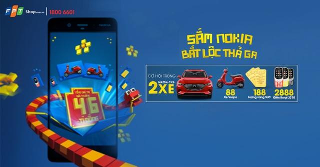 Ngay từ hôm nay, chọn sở hữu bất kỳ các dòng smartphone thuộc thương hiệu Nokia tại FPT Shop bạn sẽ được tham gia quay số may mắn trúng xe Mazda, Vespa, vàng SJC hoặc điện thoại Nokia 3310
