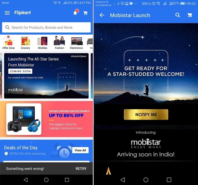 Hình ảnh của Mobiistar đã xuất hiện chính thức trên ứng dụng bán hàng của flipkart