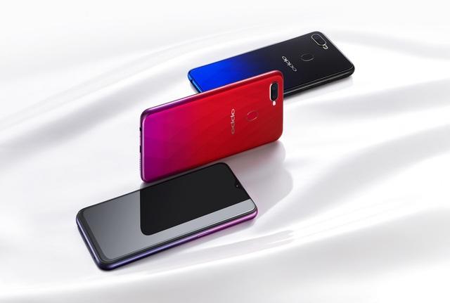 Ba gam màu nổi bật của OPPO F9 với hiệu ứng chuyển sắc và họa tiết đậc biệt