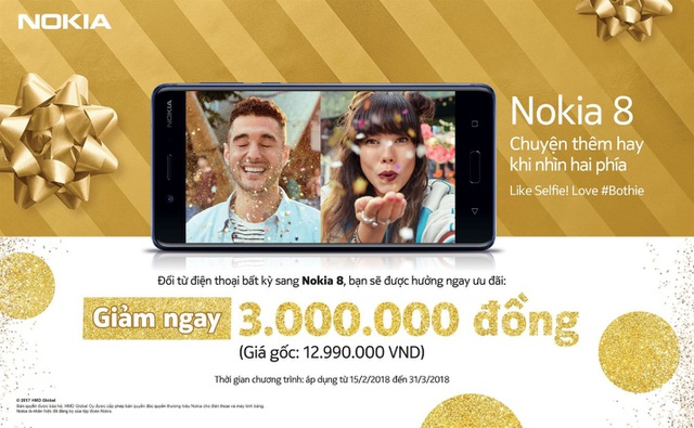 Ưu đãi ngay 3 triệu đồng khi mua Nokia 8 trong tháng 3 - 1