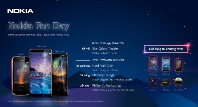 Khách hàng đến tham dự buổi offline Nokia Fan Day sẽ được áo thun Nokia thời trang, nón Nokia sành điệu và voucher mua hàng ưu đãi. Với các trò chơi sôi động tại buổi trải nghiệm, các tín đồ công nghệ sẽ có cơ hội nhận được nón bảo hiểm Nokia thời thượng.