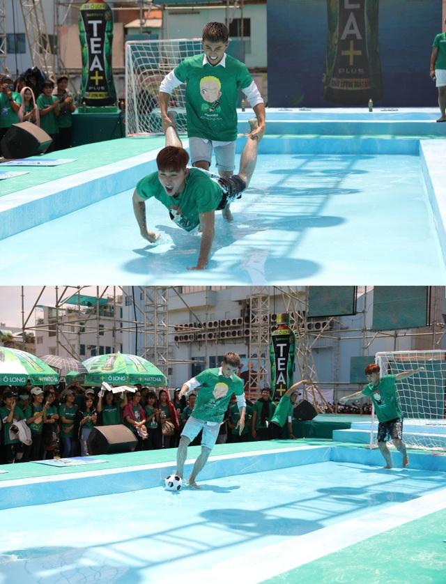 Jun và Will cùng nhau hoàn thành thử thách xe cút kít trên và đá banh trên mặt nước