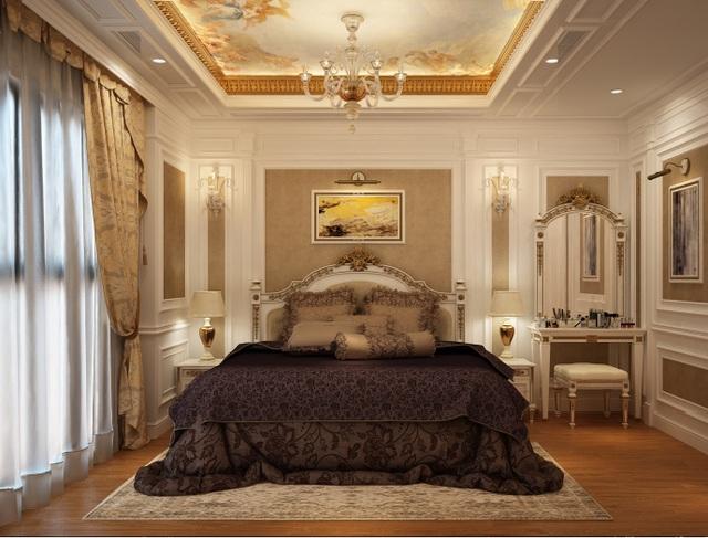 Phòng ngủ master với thiết kế sang trọng mang đặc trưng phong cách sống thời thượng và tính thẩm mỹ cao của chủ nhân sở hữu
