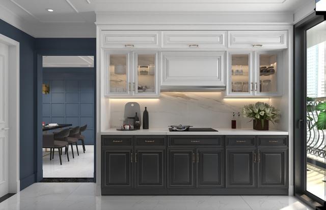 Phòng bếp được trang bị nội thất cơ bản có tính thẩm mỹ cao và tiện nghi cho người sử dụng