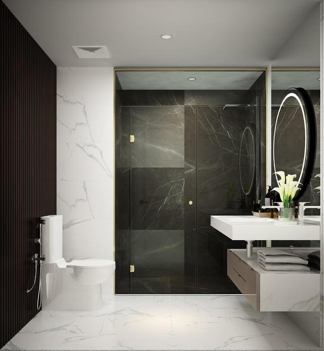 Phòng tắm với những thiết bị được kết hợp hài hòa tạo nên sự tinh tế, sang trọng