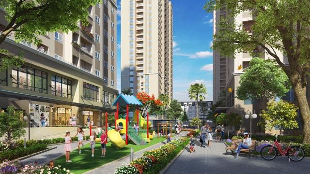 Một phần cảnh quan của dự án gồm khu vui chơi trẻ em ngoài trời và đường dạo bộ
