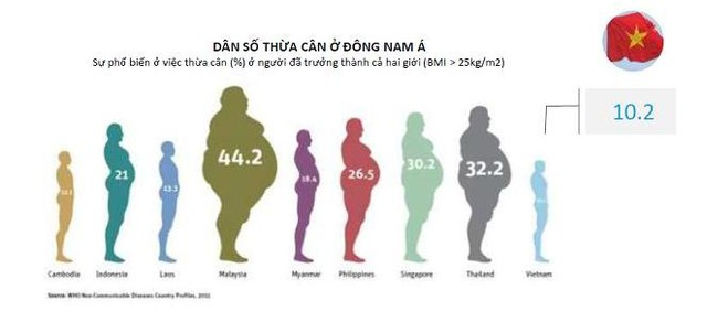 So với các quốc gia khác trong khu vực, Việt Nam có tỉ lệ béo phì khá thấp