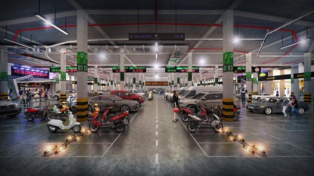 Tầng hầm gửi xe quy mô lớn hiện đại kết hợp với khu dịch vụ phục vụ khách du lịch 24/24h
